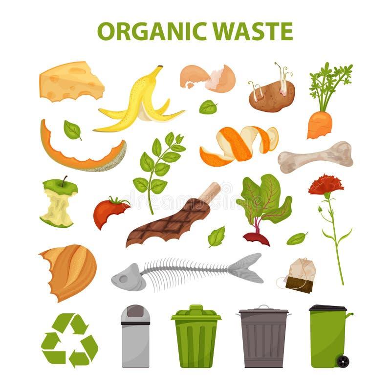 残破的肉的汇集 没有食品废弃部 设置残羹剩饭 有机废料的例证,零废题材和现代 皇族释放例证