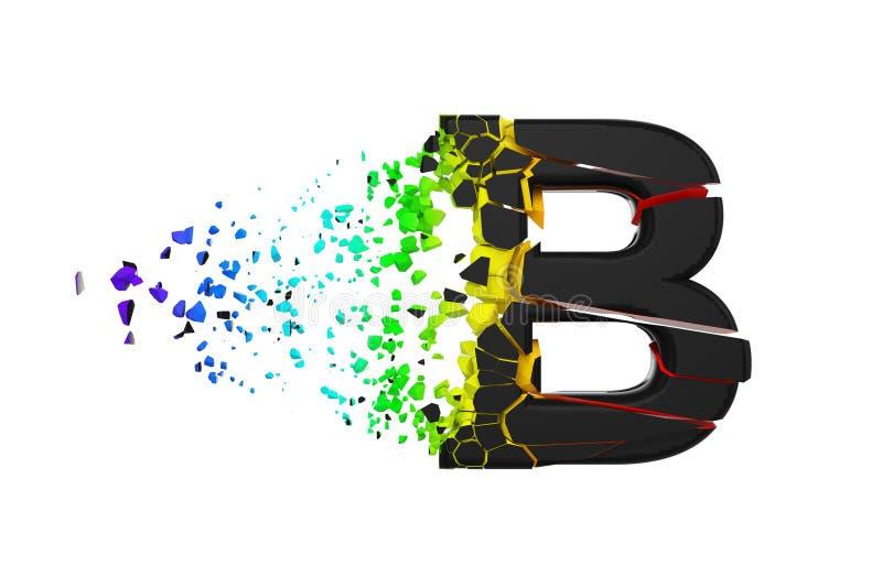 残破的被打碎的呈虹彩字母表信件B大写 被击碎的黑色和彩虹字体 3d在空白背景回报查出 库存例证