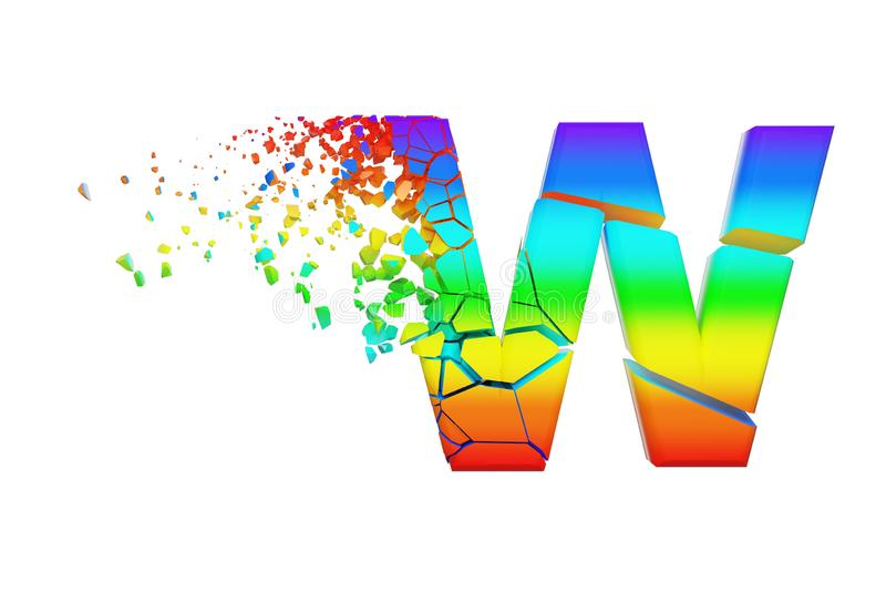 残破的被打碎的呈虹彩字母表信件W大写 被击碎的彩虹字体 3d在空白背景回报查出 向量例证