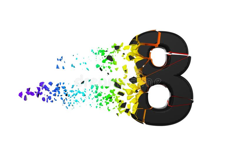残破的被打碎的呈虹彩字母表第8 被击碎的黑色和彩虹字体 3d在空白背景回报查出 库存例证
