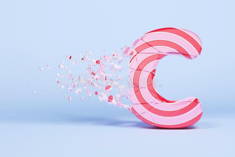 残破的被打碎的字母表信件C大写 被击碎的圣诞节字体由桃红色和红色镶边棒棒糖制成 3d回报 皇族释放例证
