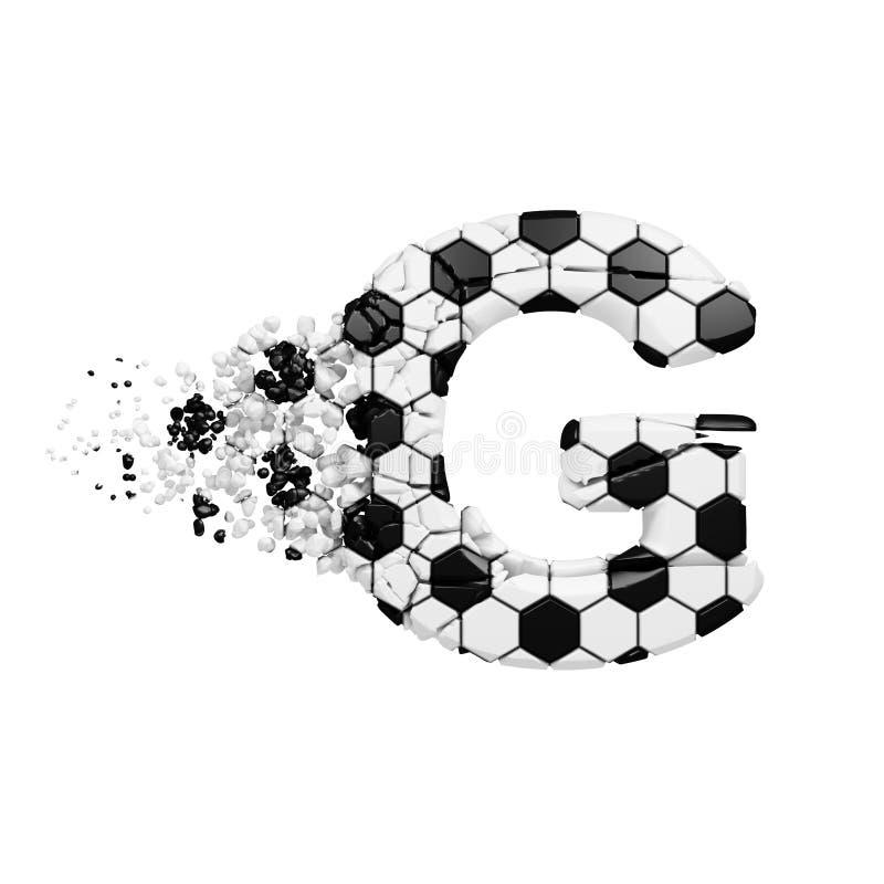 残破的被打碎的字母表信件G 被击碎的足球字体由橄榄球纹理制成 3d在空白背景回报查出 皇族释放例证