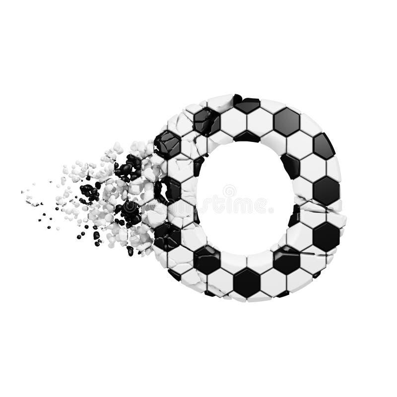 残破的被打碎的字母表信件O 被击碎的足球字体由橄榄球纹理制成 3d在空白背景回报查出 皇族释放例证
