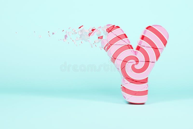 残破的被打碎的字母表信件Y大写 被击碎的圣诞节字体由桃红色和红色镶边棒棒糖制成 3d回报 皇族释放例证