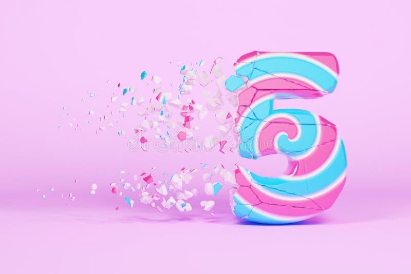 残破的被打碎的字母表第5 被击碎的圣诞节字体由桃红色和蓝色镶边棒棒糖制成 3d回报 库存例证