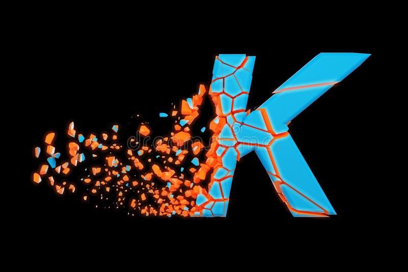 残破的被打碎的快速的运动的字母表信件K大写 被击碎的迅速赛跑的字体 3d在黑背景回报被隔绝 库存例证