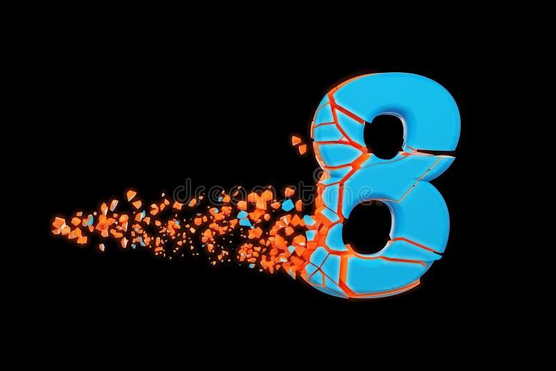 残破的被打碎的快速的运动的字母表第8 被击碎的迅速赛跑的字体 3d在黑背景回报被隔绝 库存例证