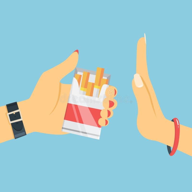残破的香烟概念抽烟的终止 妇女手废物香烟 向量例证