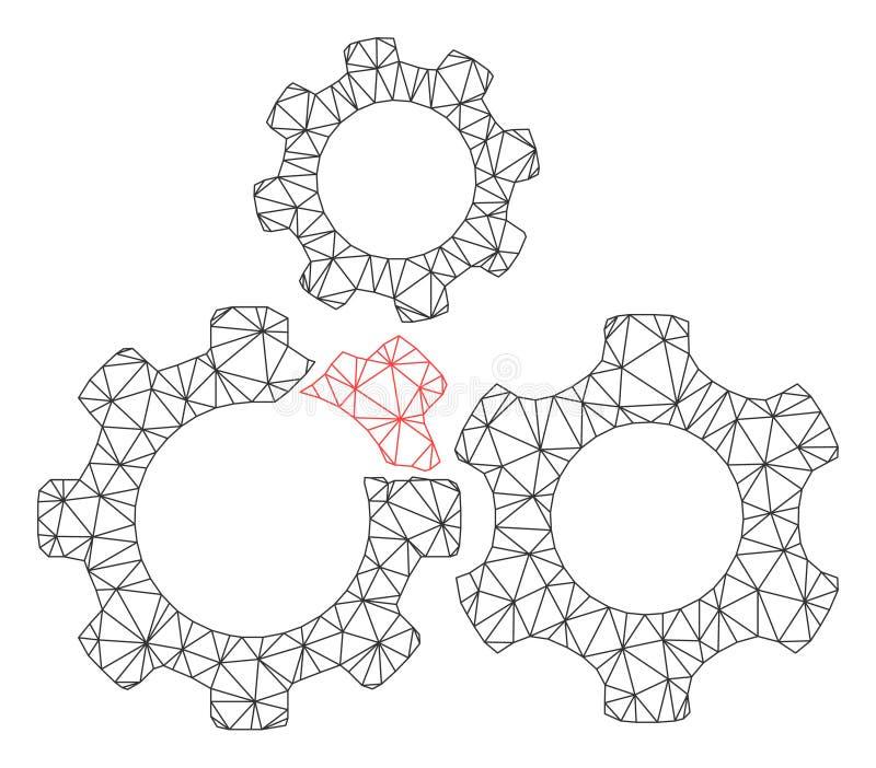 残破的齿轮机构多角形框架传染媒介滤网例证 皇族释放例证