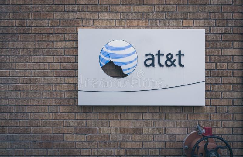 残破的AT&T商标 免版税库存图片