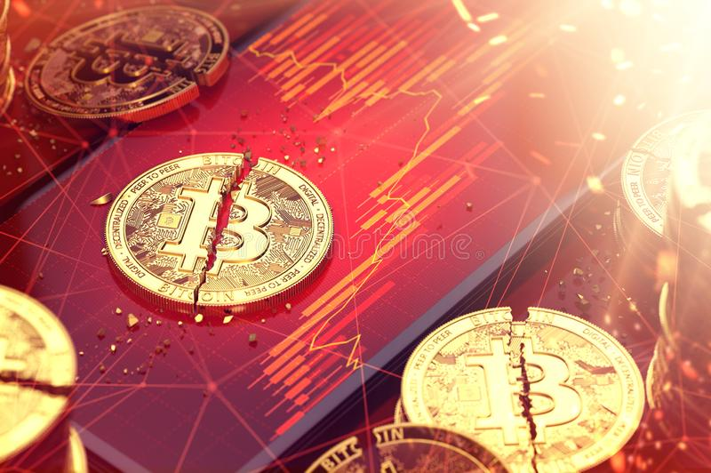 残破的bitcoin在放置在的两个片断中分裂了红色图显示了屏幕上 cryptocurrencies概念低收支  3d 向量例证