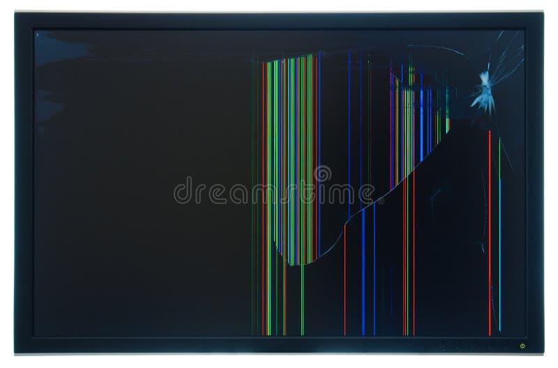 残破的lcd监控程序面板实际被关闭的tft 库存照片
