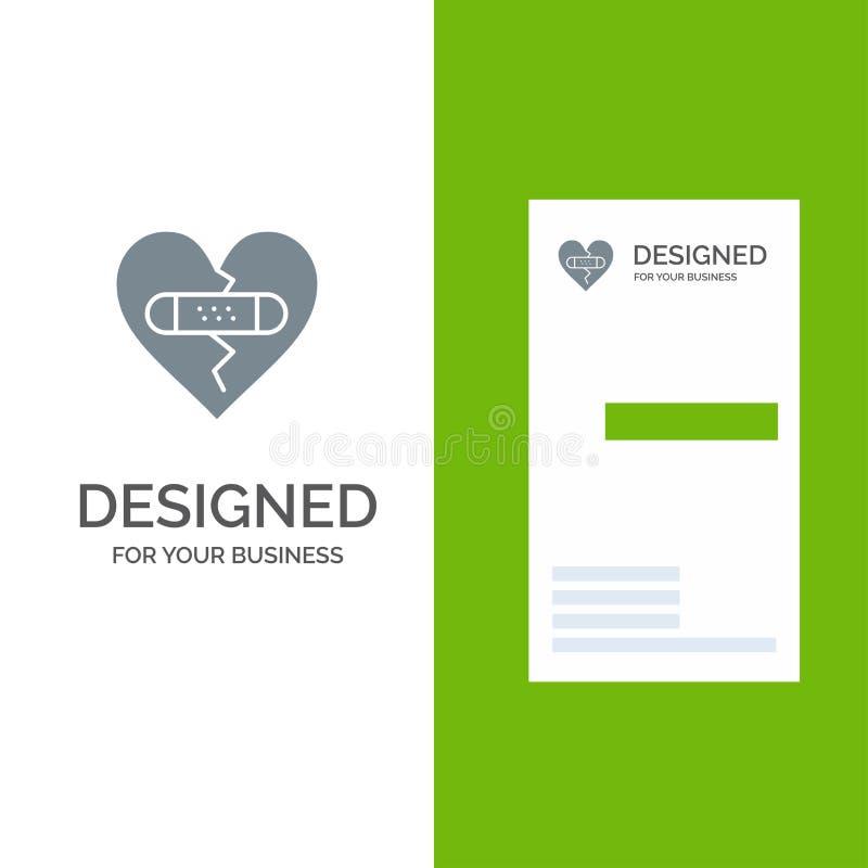 残破,情感、饶恕、心脏、爱灰色商标设计和名片模板 向量例证