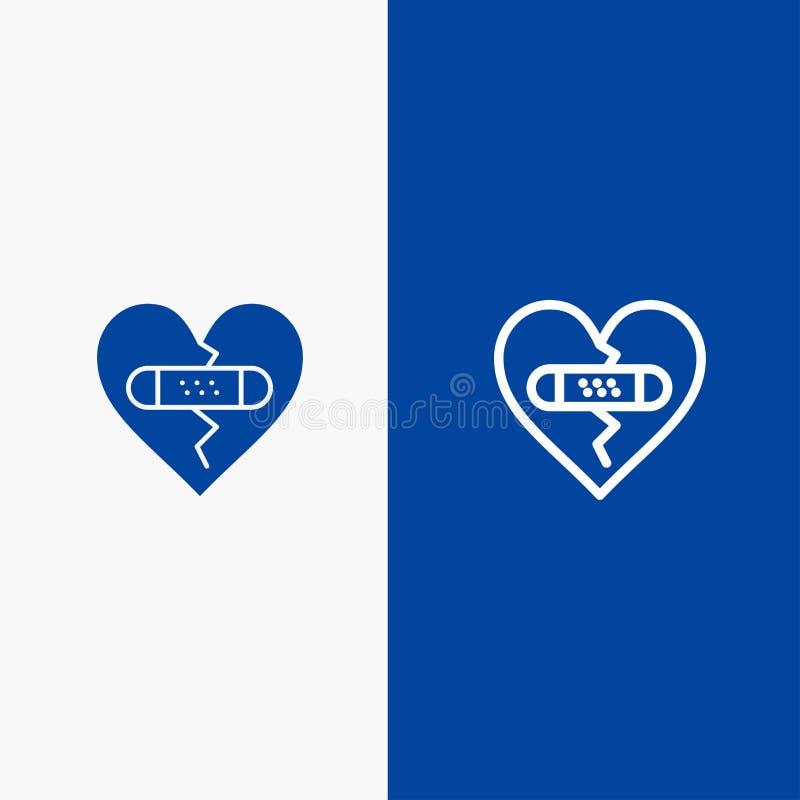 残破,情感、饶恕、心脏、爱线和纵的沟纹坚实象蓝色旗和纵的沟纹坚实象蓝色横幅 库存例证