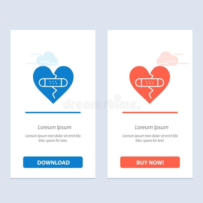 残破,情感、饶恕、心脏、爱蓝色和红色下载和现在买网装饰物卡片模板 库存例证