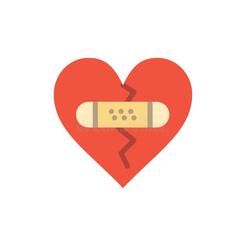 残破,情感,饶恕,心脏,爱平的颜色象 传染媒介象横幅模板 库存例证