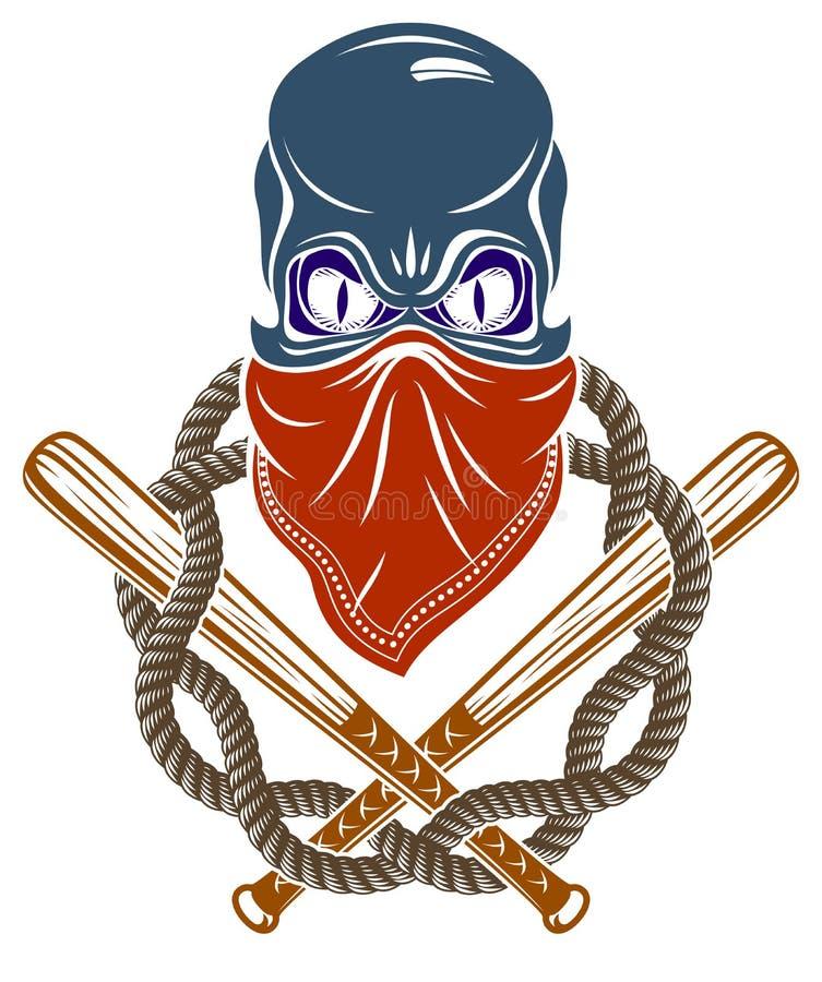残酷匪徒象征或商标与积极的头骨棒球棒设计元素、传染媒介无政府状态罪行或者恐怖主义减速火箭的样式 库存例证