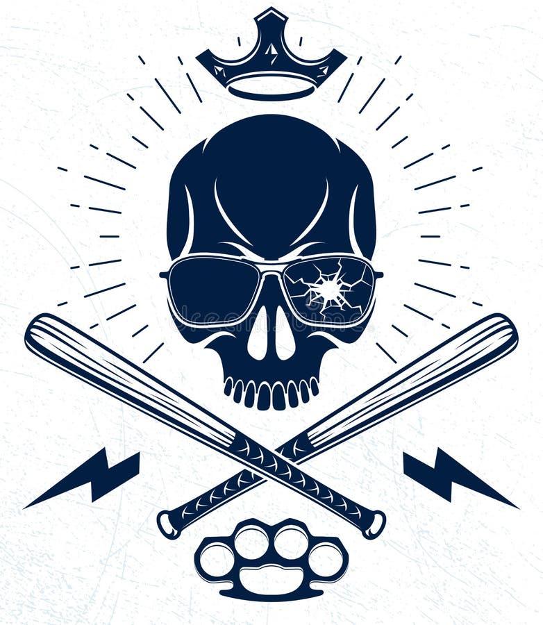 残酷匪徒象征或商标与积极的头骨棒球棒设计元素、传染媒介无政府状态罪行或者恐怖主义减速火箭的样式 向量例证