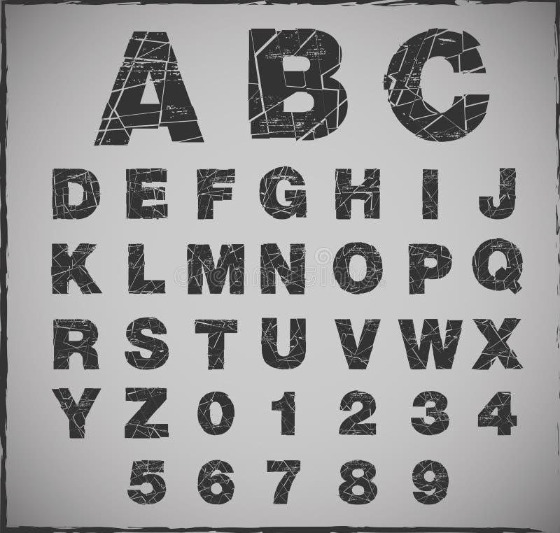 残破的字母表 向量例证