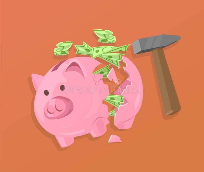 残破的存钱罐和现金 向量例证