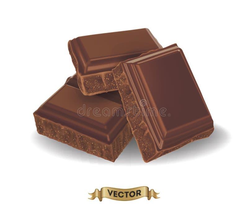 残破的巧克力块的现实传染媒介例证 向量例证