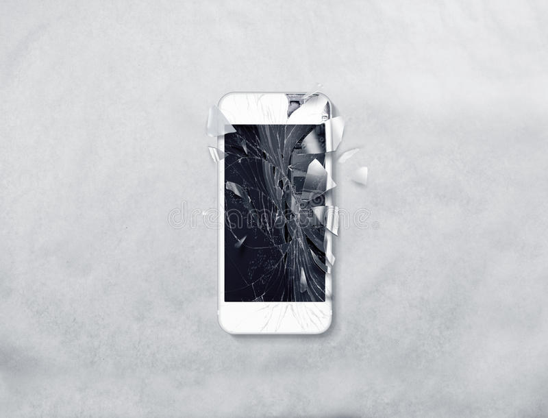 残破的手机屏幕,疏散碎片 库存照片