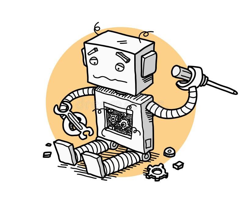 残破的机器人固定技术 库存例证