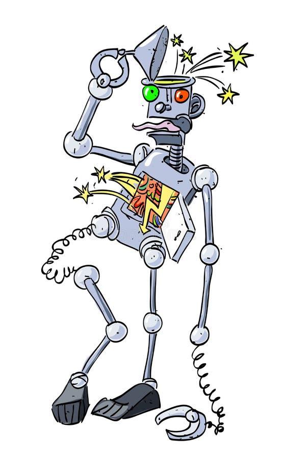 残破的机器人的动画片图象 皇族释放例证