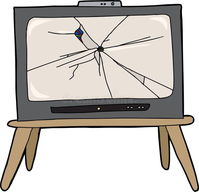 残破的电视 库存例证