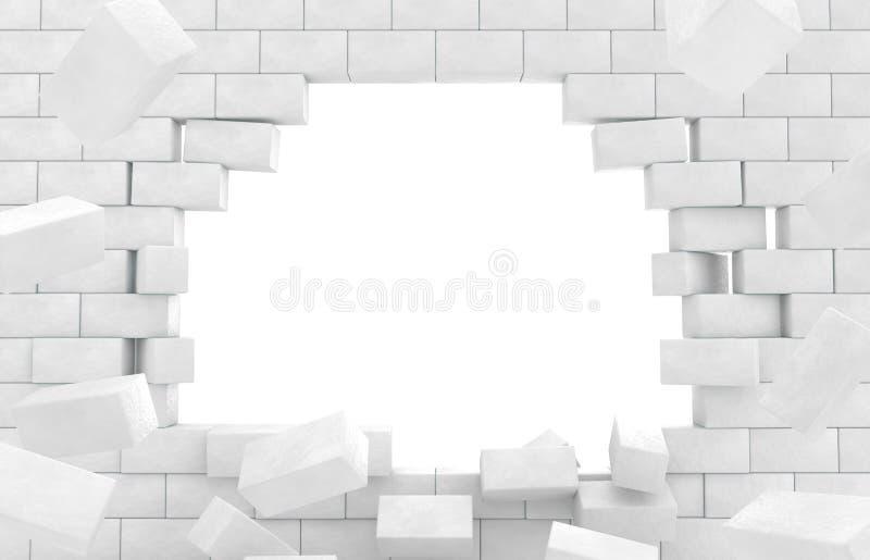 残破的砖墙壁  皇族释放例证