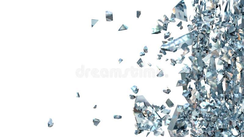 残破的蓝色玻璃的抽象例证在白色的 皇族释放例证