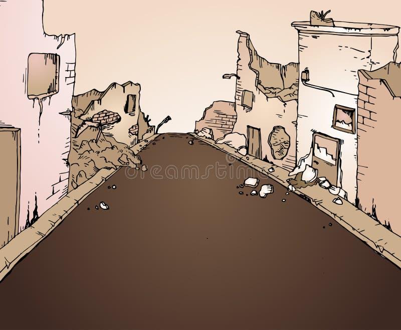 残破的街道 向量例证