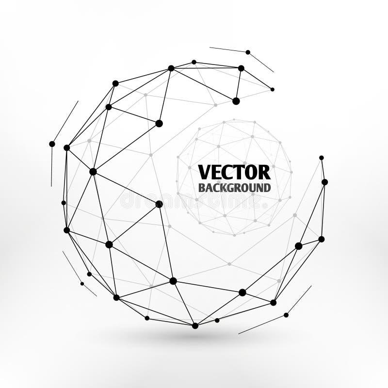 残破的连接网络3d多角形wireframe球形技术传染媒介例证 库存例证