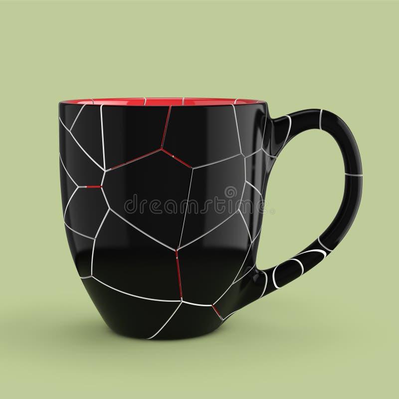 残破的黑咖啡或茶的杯子空的空白 3d翻译 皇族释放例证