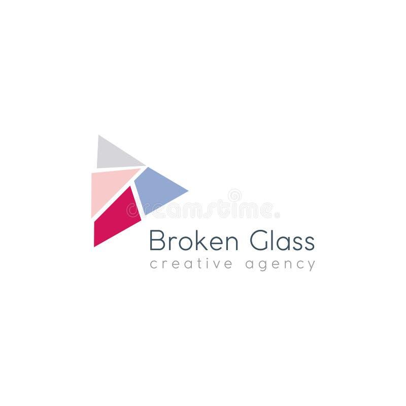 残破的玻璃商标 皇族释放例证