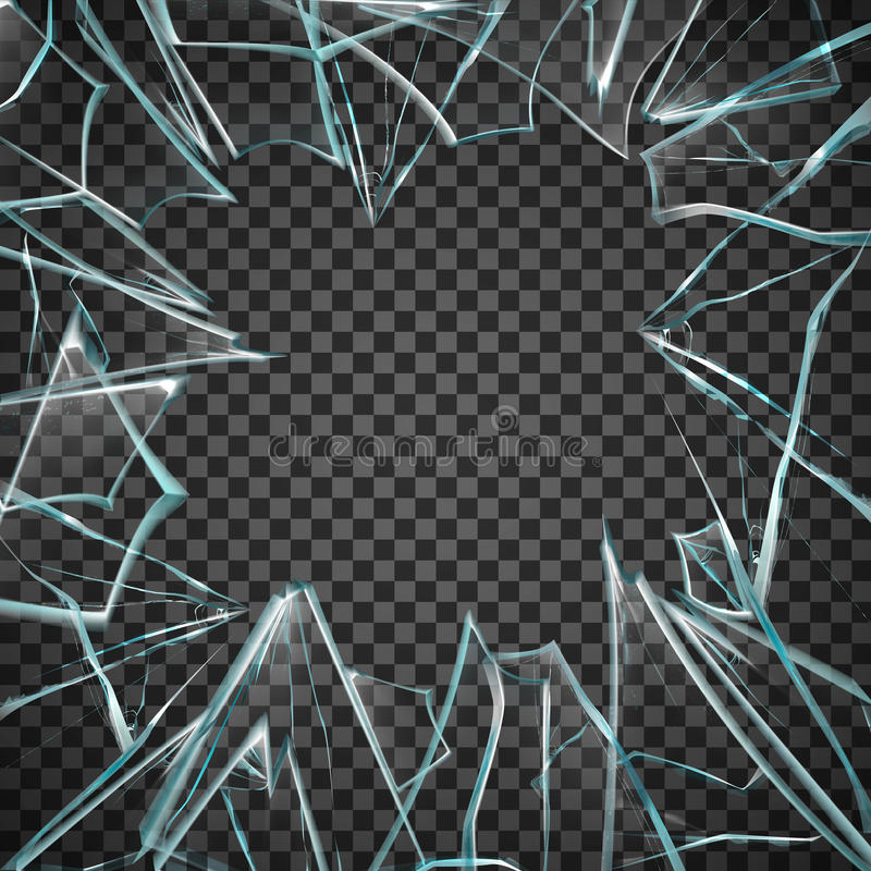 残破的玻璃透明框架 皇族释放例证