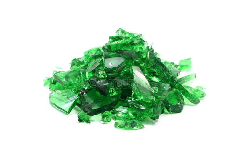 残破的绿色玻璃片断  免版税库存图片