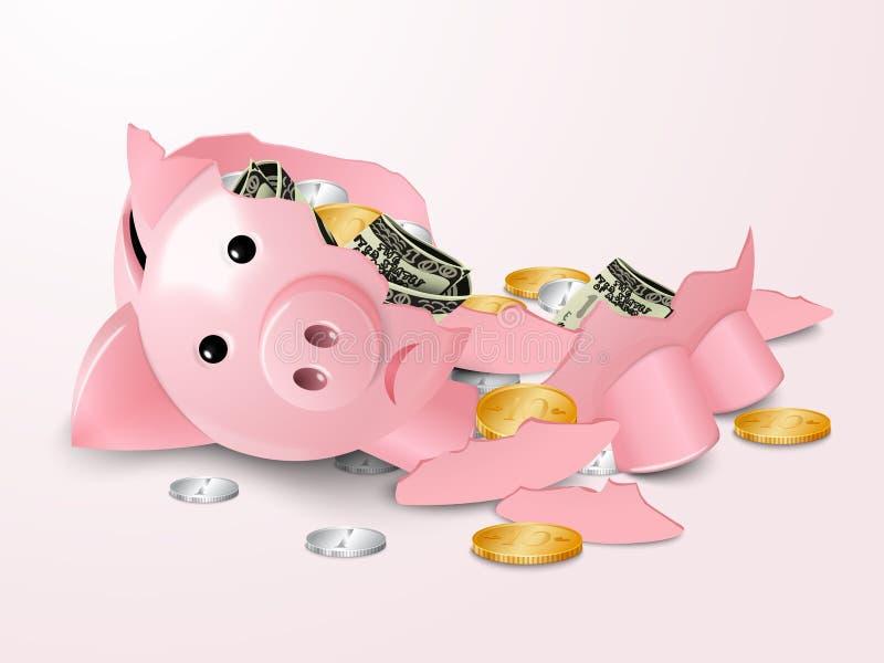 残破的piggybank 向量例证