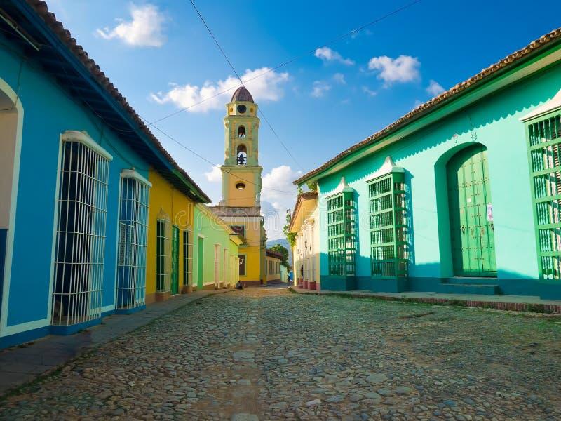殖民地古巴城镇特立尼达 免版税库存图片