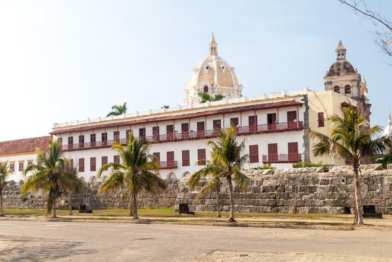 殖民地大厦在卡塔赫钠de Indias,克罗姆 库存图片