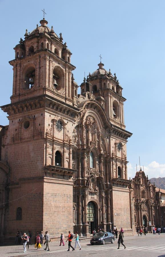 殖民地大教堂在库斯科省 库存照片