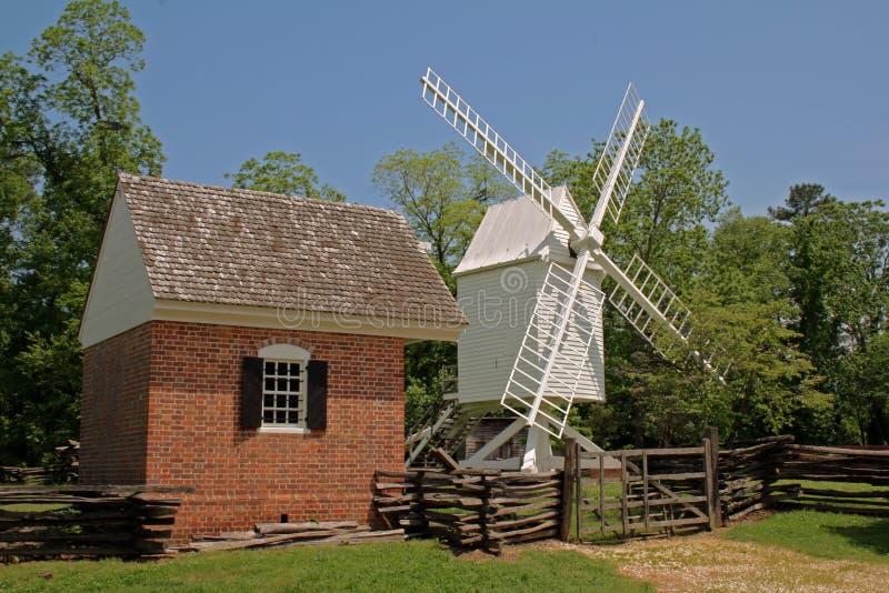 殖民地威廉斯堡风车 库存图片