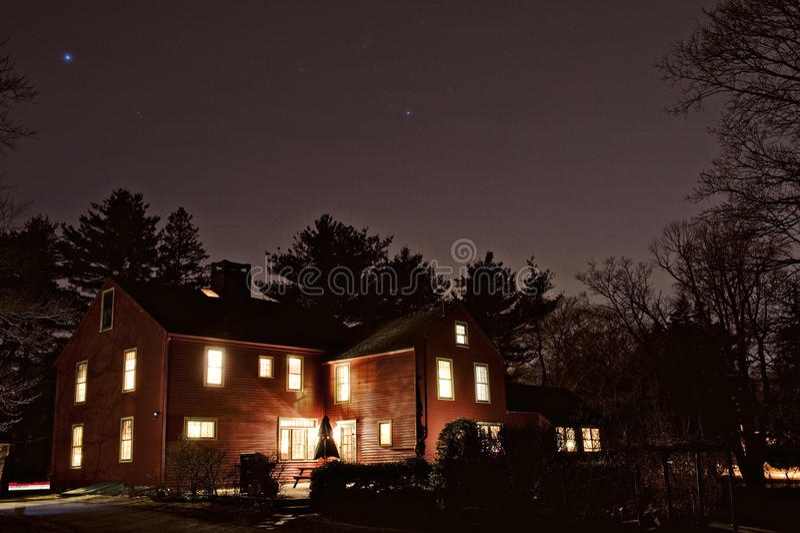 殖民地居民在晚上 免版税库存照片