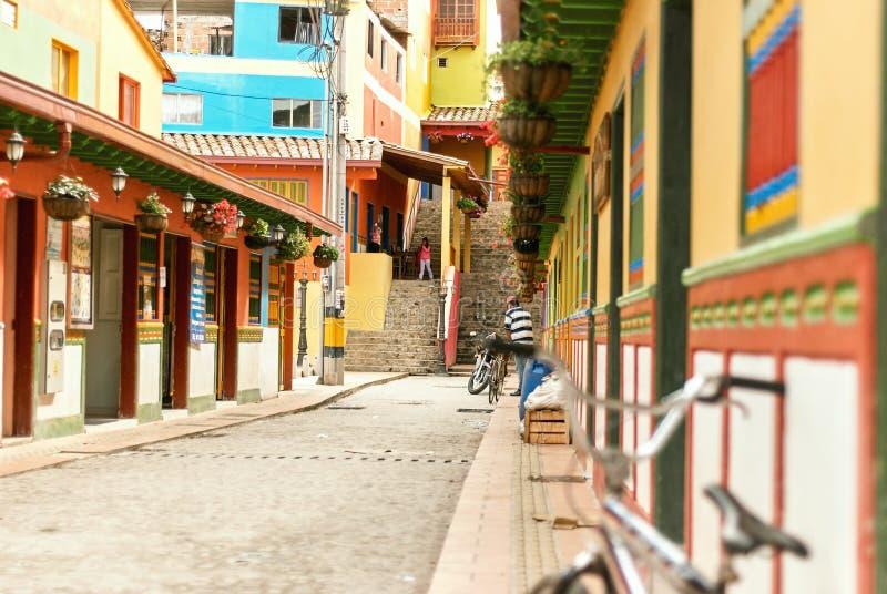 殖民地建筑学在瓜塔佩,哥伦比亚 库存图片
