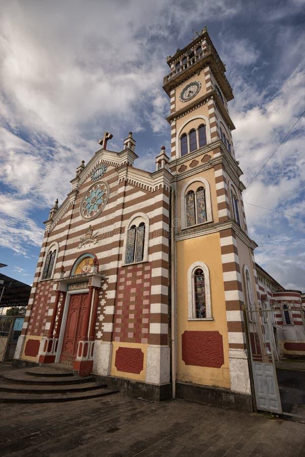 殖民地教会特写镜头在阿齐多纳厄瓜多尔 免版税库存照片