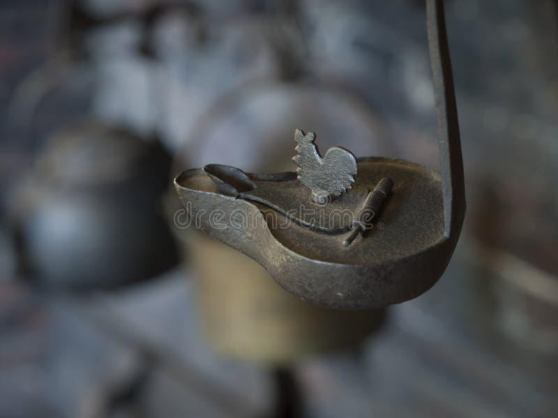 殖民地时代铁贝蒂类型油灯 图库摄影