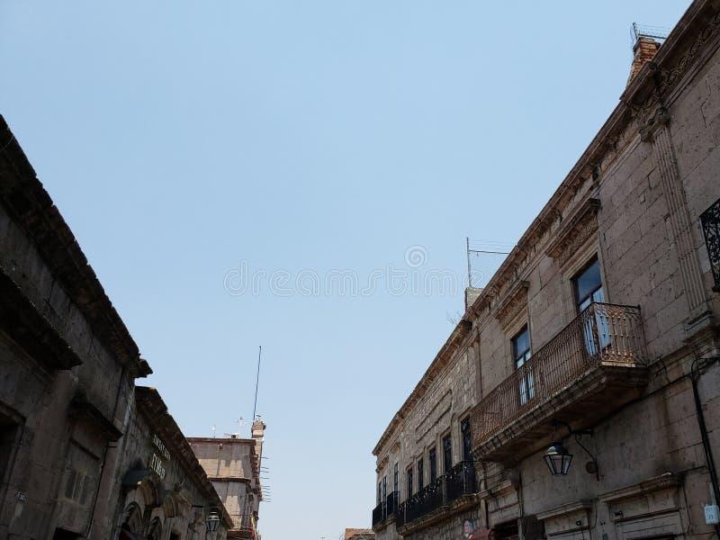 殖民地样式建筑学在墨瑞利亚,墨西哥  库存图片
