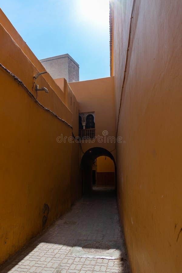 段落在马拉喀什摩洛哥麦地那  免版税库存图片
