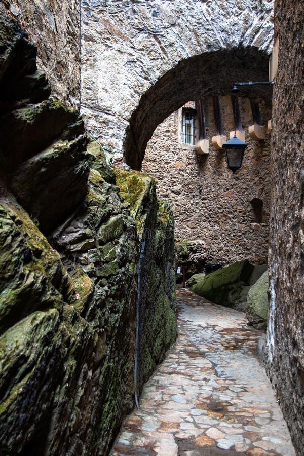 段落在Czocha城堡的桥梁下在波兰 库存照片
