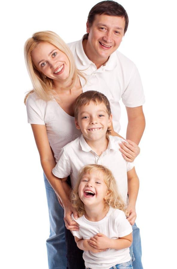 母亲、父亲、儿子和女儿 库存照片
